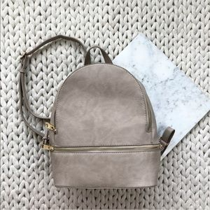 Handbags - Taupe Beige Faux Vegan Leather Backpack